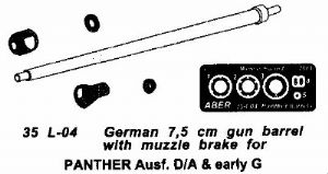 AB35L04 Panther A/D and Early G Gun Barrel for Dragon